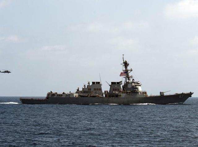 The USS Mason conducts manoeuvres as part of an exercise in the Gulf of Oman.