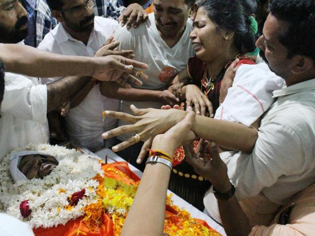 Recurring political violence between the RSS and the CPI(Mhave ) claimed more than 200 lives in north Kerala's Kannur district. Narayani during her son Remith's funeral.
