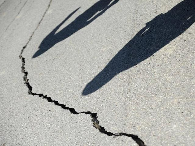 A file picture of a crack developed on the road following a powerful earthquake.