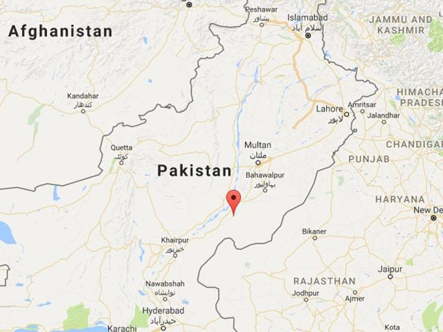 Location of the accident in Khanpur town in Rahim Yar Khan district, Pakistan.