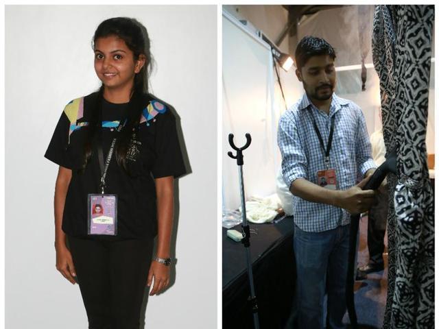 (L-R) An usher at fashion week Shrvistha Shukla; Ironing man, Shankar backstage.