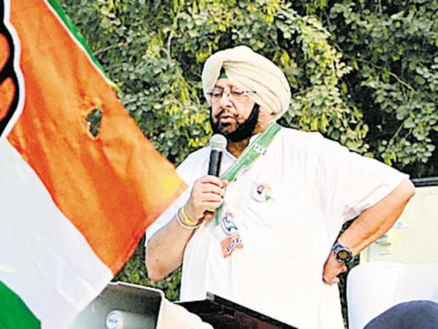 PPCC president Capt Amarinder Singh delivers a speech on the first day of his three-day yatra, at Baghapurana in Moga on Monday.