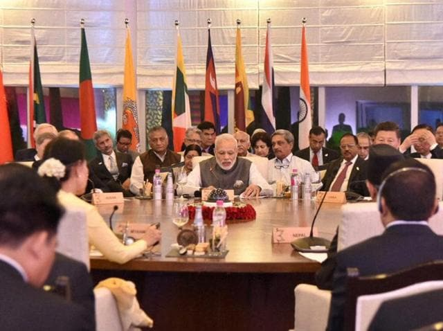 Prime Minister Narendra Modi during the BRICS and BIMSTEC Outreach Summits in Mobor, Goa on Sunday.