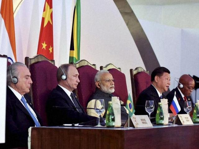 Prime Minister Narendra Modi with fellow BRICS leaders -- presidents Michel Temer of Brazil, Jacob Zuma of South Africa, Vladimir Putin of Russia and China's Xi Jinping at the BRICS informal dinner in Benaulim, Goa on October 15, 2016.