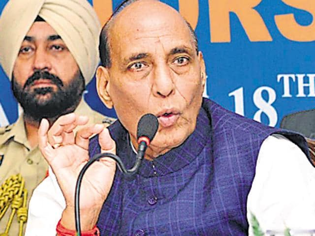 Union home minister Rajnath Singh addressing a Regional Editors' Conference in Chandigarh on Friday.