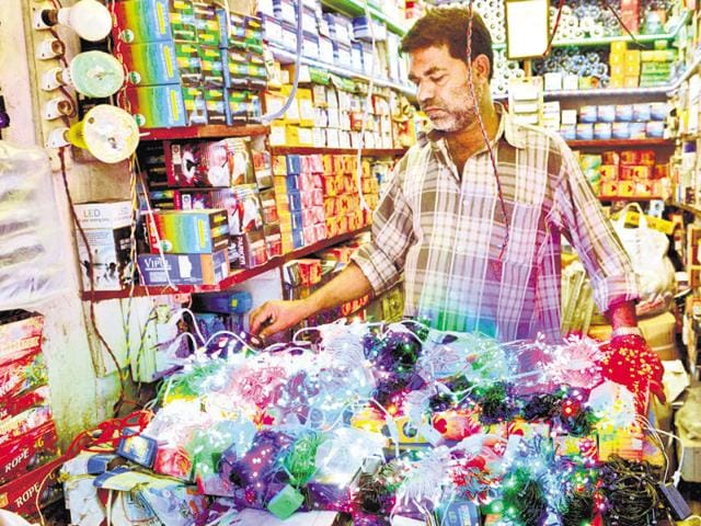 Made in China decorative lights on sale for Diwali at a market in Ranchi.