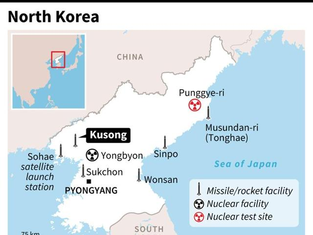 A map of North Korea locating an unsuccessful missile launch from Kusong, plus other main missile and rocket test sites in the country - AFP / AFP / AFP