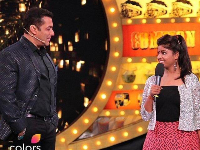 Lokesh Kumari Sharma, a Delhi girl, with Salman Khan and VJBani on Bigg Boss 10.