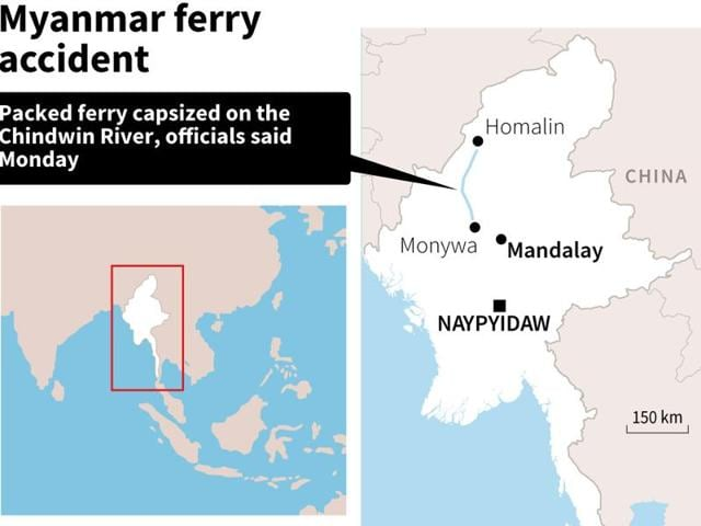 Map locating the Chindwon River in Myanmar were a packed ferry capsized, according to officials on Monday.
