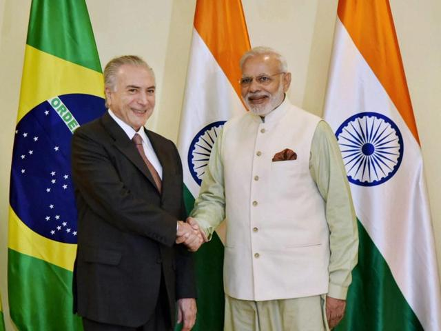 Prime Minister Narendra Modi with the President of Brazil, Michel Temer, during a bilateral meeting in Goa on Sunday.