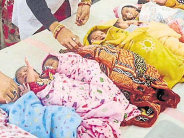 Ghulam Hassan, a resident of the remote Chhatru village of the district, had taken his wife to the hospital where she delivered a baby boy on Thursday, a police officer said on Sunday.