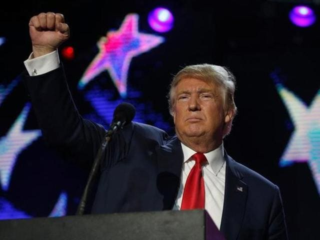 Republican presidential nominee Donald Trump speaks at a Bollywood-themed charity concert put on by the Republican Hindu Coalition in Edison, New Jersey, US  on Saturday.