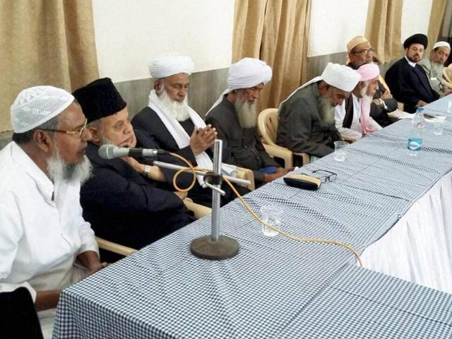 Ulamas of different Muslim organisations at a meeting to discuss the Uniform Civil Code issue in Hyderabad on Sunday.