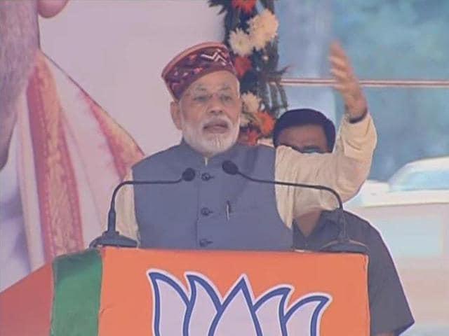Prime Minister Narendra Modi in Mandi on Tuesday.
