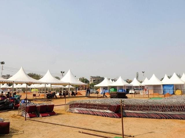 Tents being set up for the 10-day event, which will feature a total of 400 stalls and bring together artisans from Rajasthan, Gujarat, Uttarakhand and UP, among others.