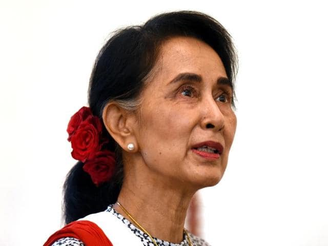 Myanmar's State Counsellor Aung San Suu Kyi at Myanmar Embassy in New Delhi.