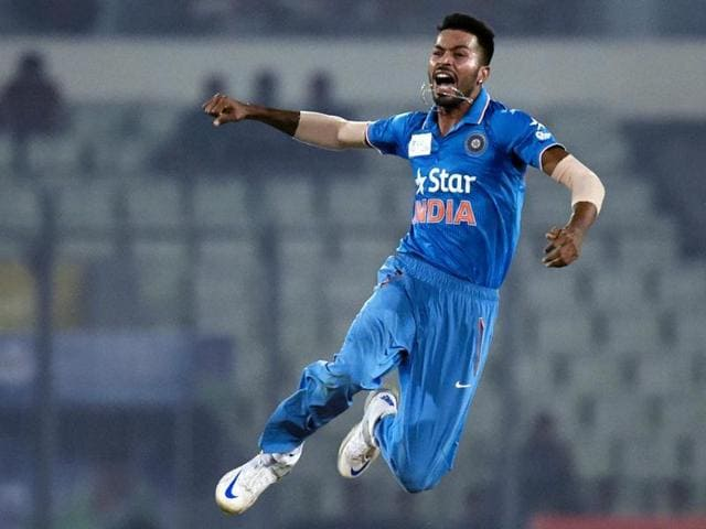 With figures of 3/31 in seven overs in his debut ODI, Hardik Pandya, centre, displayed plenty of promise.