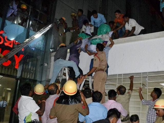Rescue work underway at the SUM Medical College Hospital in Bhubaneshwar where a fire broke out on  Monday.
