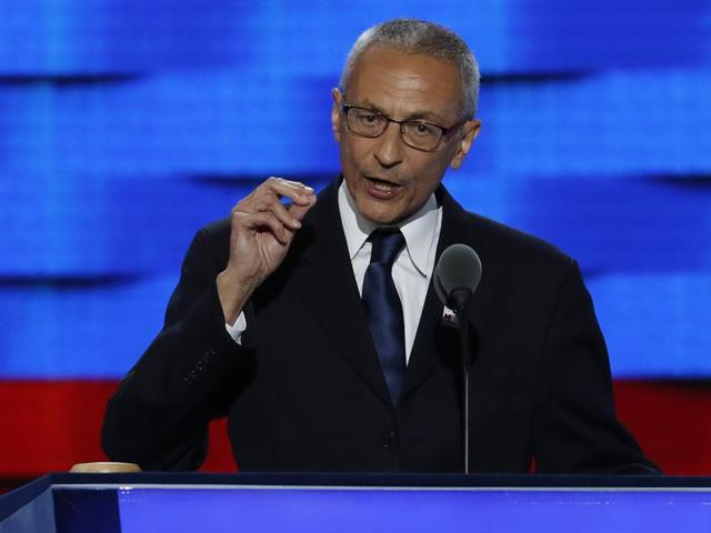 FILE - In this July 25, 2016, file photo, John Podesta, Clinton Campaign Chairman, speaks during the first day of the Democratic National Convention in Philadelphia.