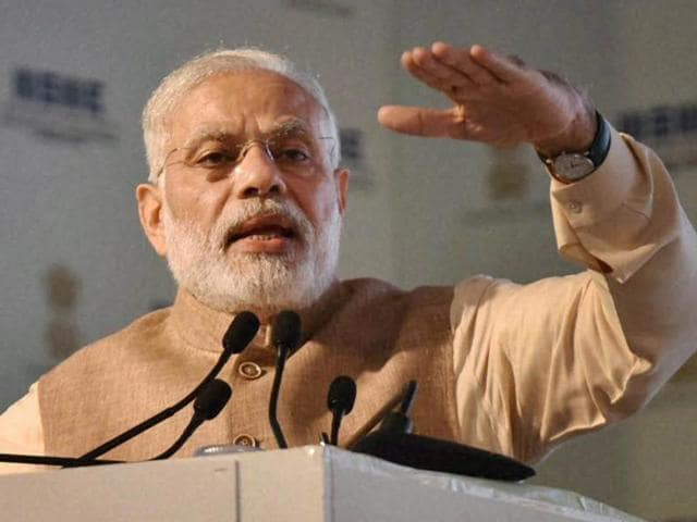 Prime Minister Narendra Modi addressing the gathering during a function at PAU in Ludhiana on Tuesday.
