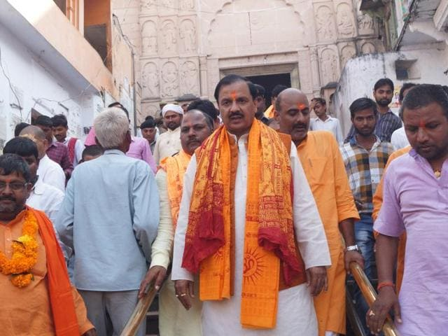 Union tourism minister Mahesh Sharma returning after visiting the Hanuman garahi temple in Ayodhya on Tuesday, October 18, 2016.