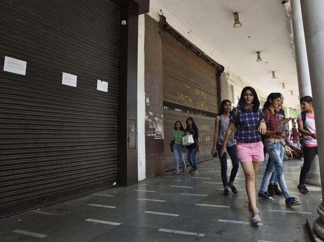 Shops in Khan Market closed due to call for strike by traders associations in New Delhi.
