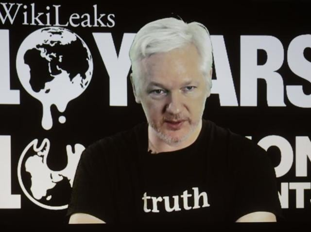 In this file photo, WikiLeaks founder Julian Assange participates via video link at a news conference marking the 10th anniversary of the secrecy-spilling group in Berlin.(AP)