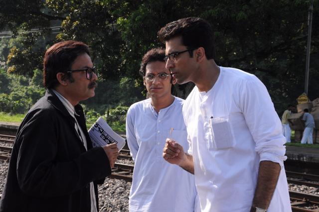 Padmanabha Dasgupta , Abir Chatterjee and Ritwick Chakraborty in Arindam Sil's Byomkesh Pawrbo.