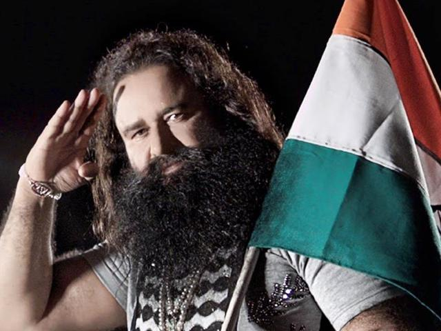 A shot from an earlier movie by Gurmeet Ram Rahim Singh.