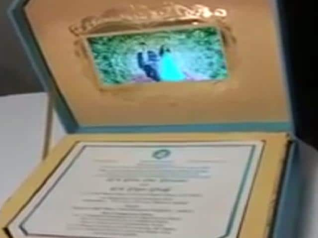 The wedding invitation is actually a box, which opens to display a small LCD screen playing a pre-wedding video of Reddy's daughter Bramhani with son-in-law Rajeev.