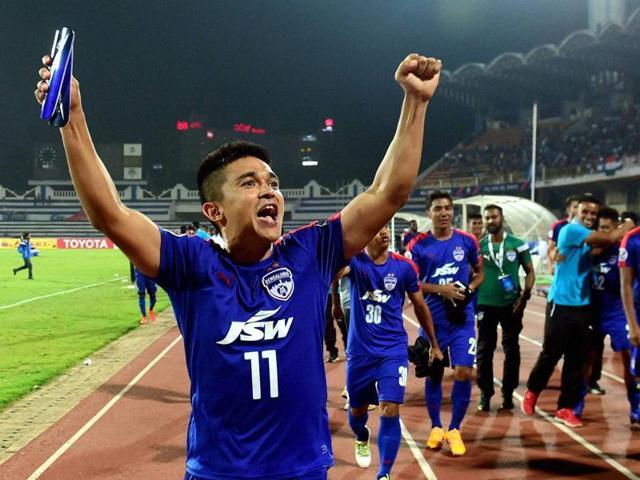 Bengaluru FC players celebrates after scoring a goal against Johor Darul TA'ZIM.
