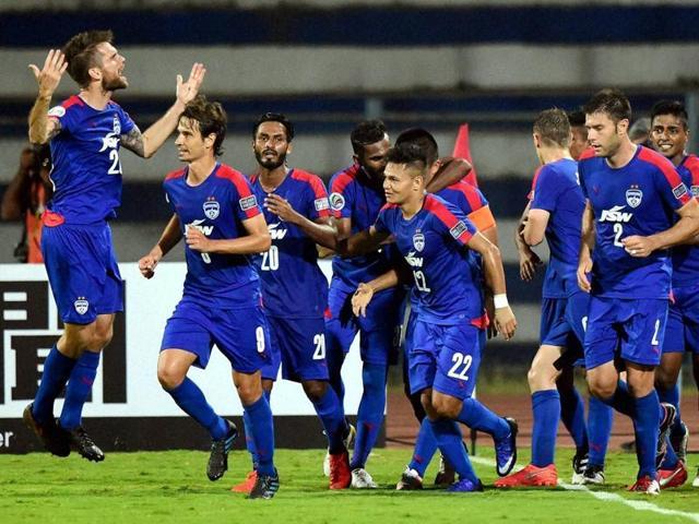 Bengaluru FC players celebrates after scoring a goal against Johor Darul TA'ZIM .