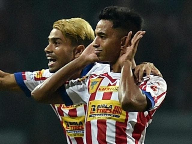 Sameehg Doutie of Atletico De Kolkata after scoring the first goal against FC Goa.