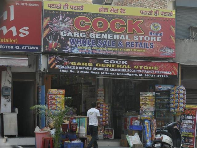 A general store selling crackers at the Attawa market in Sector 42, Chandigarh, on Tuesday.