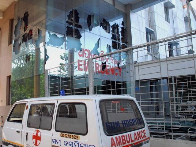 Damaged emergency ward of SUM hospital in Bhubaneswar.
