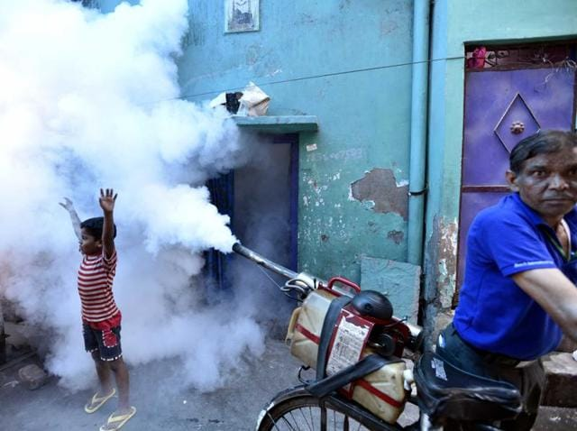 The Municipal Corporation of Delhi carries out fumigation for dengue and chikungunya at Khurezi in east Delhi.