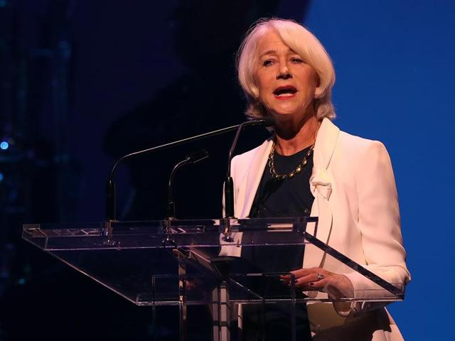 Helen Mirren speaks during the Hillary Victory Fund - Stronger Together concert at St. James Theatre on October 17, 2016 in New York City.