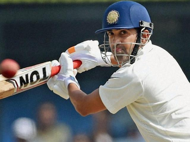 Indore: Indian batsman Gautam Gambhir plays a shot during the third test match played against New Zealand in Indore on Tuesday. PTI Photo by Shashank(PTI10_11_2016_000037b)