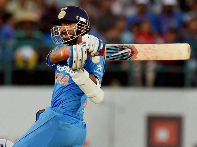 India batsman Ajinkya Rahane plays a shot during the first one day international match between India and New Zealand.