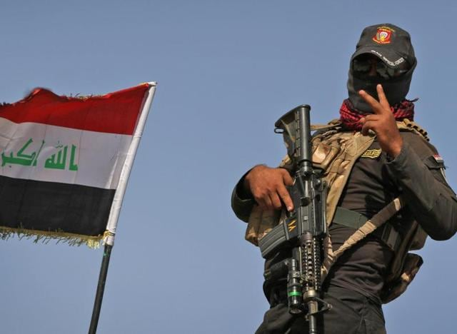 An Iraqi soldier outside Mosul