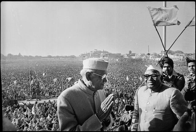 Jayaprakash Narayan and Jagjivan Ram (right), former Deputy Prime Minister of India, at a Janata Party rally in New Delhi on 06 February 1977(N Thyagarajan/HT Photo)