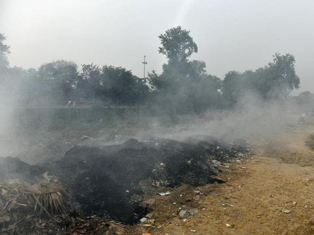 Construction pollution at Bhairon marg in New Delhi. The national capital  has been struggling to clean up its air that contains a toxic cocktail of dust, smoke and gases from vehicle and factory exhausts.