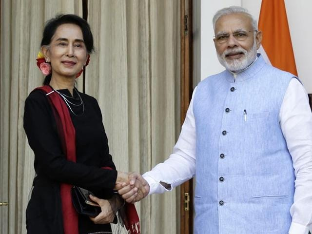 Prime Minister Narendra Modi with Myanmar's foreign minister Aung San Suu Kyi before a bilateral meeting in New Delhi.