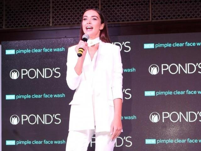 Amy Jackson during the launch of Pond's Institute and Pond's Skincare products in Mumbai. (IANSPhoto)