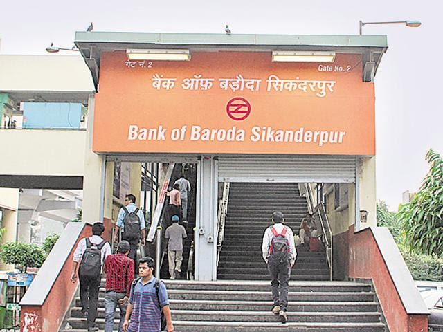 Sikanderpur metro station has been rechristened after Bank of Baroda acquired semi-naming rights.(HT Photo)