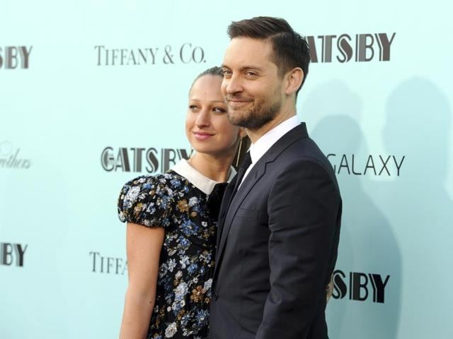 Tobey Maguire and his wife Jennifer Meyer attend The Great Gatsby world premiere in New York in 2013.