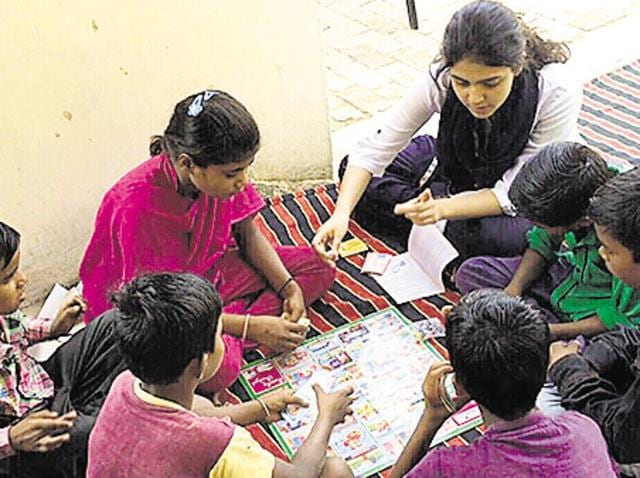 Seher Bajwa has developed a curriculum and is also teaching students at a small centre at Bahadurgarh village.