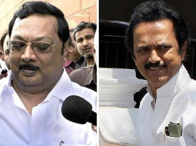 MK Stalin, right, and MK Alagiri were locked in a battle for political supremacy within the DMK.