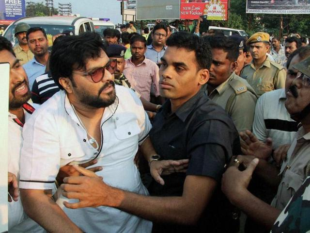 Singer-politician Babul Supriyo says a solid brick was hurled at him in Asansol, West Bengal.