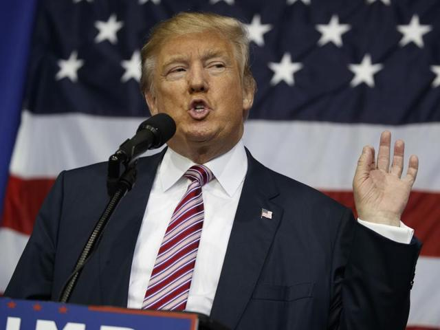 Republican presidential candidate Donald Trump speaks during a campaign rally at the Delaware County Fair on October 20, 2016, in Delaware, Ohio.